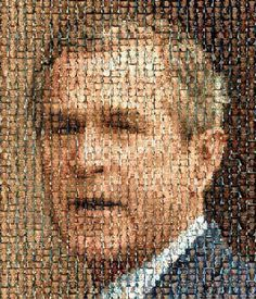 "George ""Dubya"" Bush legacy portrait made of photos of soldiers who died in George's Iraq war #uniteblue"