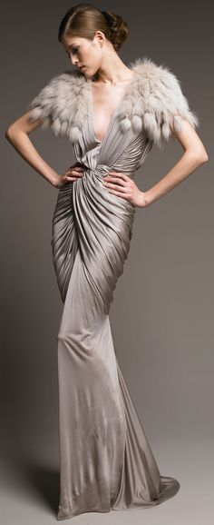Billionairess Club: J.Mendel grey gown