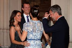 Ever the style maven, Mary turned heads in a white dress with a camisole dress with patterned, semi sheer blue lace overlay, cinched in at the waist with a thin belt as the group joked together British Royal Families, Danish Royal Family, Blue And White Dress, Blue Lace, Alexander Mcqueen, Prince Héritier, Brigitte Macron, Princess Marie Of Denmark, Queen Margrethe Ii