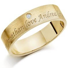 Yellow Gold Gents Ring With 2 Engraved Names And Set Diamond