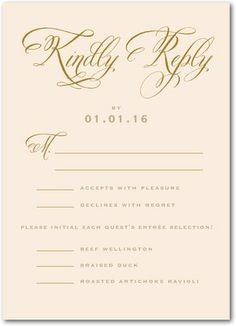Graceful Vines Signature White Wedding Response Cards Marchesa