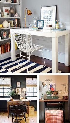 I want to put wall paper in my home office too! :D Home Office Design Ideas, Pictures of Home Office Designs, Home Office Decor Mesa Home Office, Home Office Space, Home Office Desks, Tiny Office, White Office, Desk Space, Office Style, Office Furniture, Wood Furniture