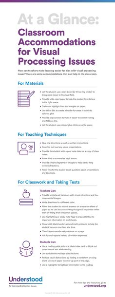 Glance: Classroom Accommodations for Visual Processing Issues Check out these strategies and tools that can help kids who have visual processing issues.Check out these strategies and tools that can help kids who have visual processing issues. Instructional Strategies, Teaching Strategies, Teaching Tips, Instructional Technology, Differentiated Instruction, School Resources, Teacher Resources, School Ot, Learning Support