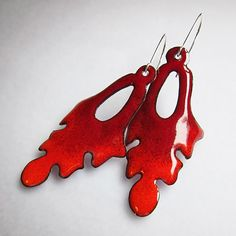 Red Leaf Earrings Enamel Jewelry Nature Jewelry by OxArtJewelry, $43.50