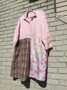 eb440b9181a86 The Georgia Upcycled Dress  Plus size 1X-2X pastel pink Cut Up Shirts