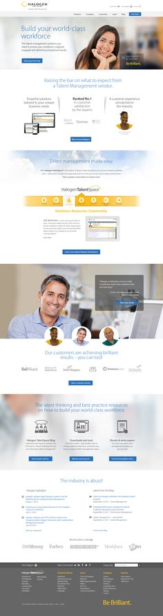 Homepage concept design for Halogen Software