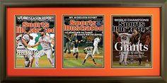 "Newspaper Display Frame. San Fransisco Wins 2010, 2012 and 2014 World Series. Frame #201 Matte Black 1 1/2"". Outer Mat Deep Orange, Inner Mat Black Belt.  Price $160.95 as configured"