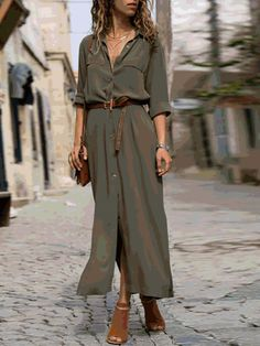 Khaki Cotton Long Sleeve Casual Solid V neck Cardigan Casual Summer Dresses, Summer Dresses For Women, Fall Dresses, Dresses Dresses, Dress Casual, Dresses Online, Flip Flops Damen, Daily Dress, Types Of Sleeves