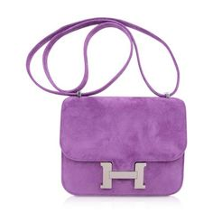 Guaranteed authentic exquisite limited edition Hermes coveted Doblis (suede) bag features the Constance Mini in...