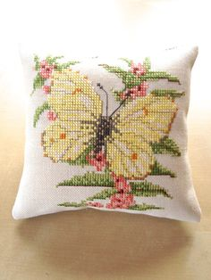 Recycled Butterfly Yellow Decor Pillow by NellysLittleGifts