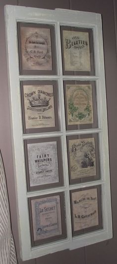 Serendipity Chic Design: Another vintage window~soap and perfume labels