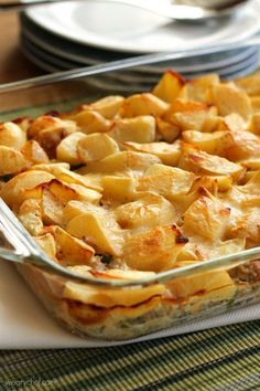 You can feel good indulging in this Meat and Potatoes Casserole because it's made with wholesome ingredients and a homemade sauce. This ground beef casserole is similar to shepherd's pie, but instead of a mashed potato topping, you'll find that cubed potatoes add extra texture and flavor.