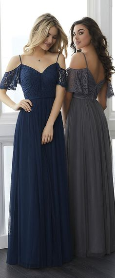 Delicate Tulle   Lace Spaghetti Straps Neckline Floor-length A-line  Bridesmaid Dresses With ddb1d04b5cb4