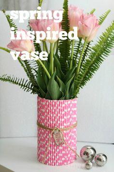 using paper straws to makeover vase for spring
