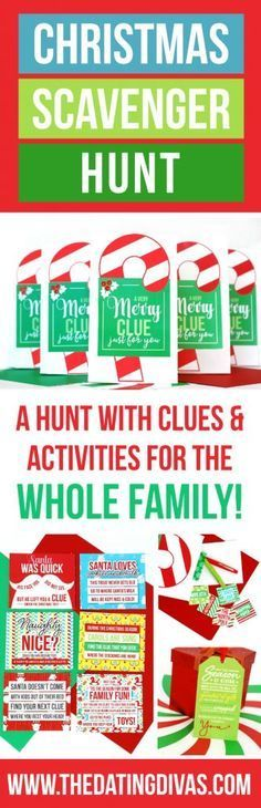 Clues and activities for a Christmas Scavenger Hunt the whole family can enjoy! Each stop on the scavenger hunt includes a Christmas-themed task or game! This would be so fun to do Christmas morning and the last stop be all the presents from Santa! Christmas Morning, Family Christmas, Winter Christmas, All Things Christmas, Christmas Crafts, Santa Christmas, Christmas Present Hunt, Christmas 2019, Christmas Traditions Kids