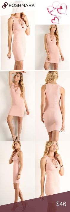 🆕 Pink Sleeveless Lace-Up Neck Dress Pink Sleeveless Lace-Up Neck Dress Solid rib knit pink sleeveless short bodycon dress with lace-up v-neck and slight racerback.  Content: 80% rayon 14% polyester 6% spandex Dresses Mini