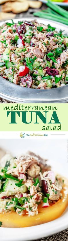 The BEST Mediterranean Tuna Salad with fresh herbs, chopped vegetables and a zesty Dijon vinaigrette! DELICIOUS! Perfect for potlucks, appetizer or even dinner! Just add pita pockets or pita chips and you're good to go! Tuna Salad Recipes, Best Tuna Salad Recipe, Fresh Tuna Recipes, Vegetable Salad Recipes, Healthy Tuna Salad, Healthy Eats, Quick Recipes, Fish Recipes, Seafood Recipes