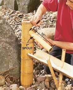 How to make a bamboo water spout for a fountain.