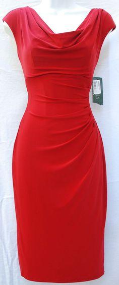 Ralph Lauren cocktail classy design red women dress sz 2 cowl neck ruched side #RalphLauren #Sheath #Cocktail