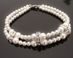 Dame, Double Row Pearl Bracelet - Jules Bridal Jewellery