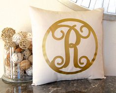 Metallic Gold Pillow Gold Pillow Gold Monogram by FestiveHomeDecor Monogram Pillow Metallic Monogram