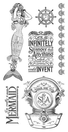 Graphic 45 - Voyage Beneath the Sea Collection - Cling Stamps 1