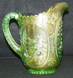 Imperial Carnival Glass | Imperial Lime Green Carnival Glass Windmill Milk Pitcher VHTF Color ...