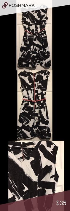"DOO RI abstract pattern a-line dress black white DOO RI  for Impulse / Macy's exclusive dress  Black and White with red accents Abstract Pattern Sleeveless A-Line dress / belted at the waist / zip closure  Size 6  Measurement (approx): Size 6 Bust 17"" laid flat Length 35"" Waist 14"" (the smallest part of the dress) Doo.Ri Dresses"