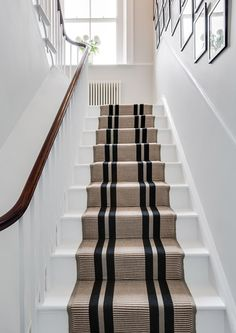 Top Guide of White Staircase with Runner Stairways Carpet Staircase, Staircase Runner, Stair Runners, Carpet Runner On Stairs, Hall Carpet, Striped Carpet Stairs, Style At Home, Open Trap, Flur Design