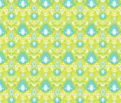 Lime and Turquoise Ikat fabric by jenniferstuartdesign on Spoonflower - custom fabric