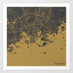 Helsinki Map Art Print by Map Map Maps - $18.00-------------------------------If you like my work, you can folllow my Facebook account : https://www.facebook.com/MapMapMaps
