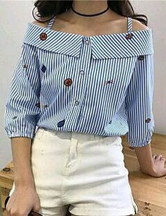 24 Women Printed Shirts That Will Make You Look Great - Women Fashion Trends - Moda Inverno Mode Outfits, Casual Outfits, Stylish Dresses, Fashion Dresses, Diy Clothes, Clothes For Women, Fancy Tops, Refashion, Clothing Patterns