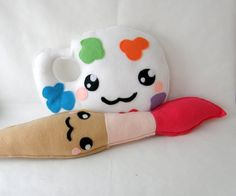 Painting brush and palette SET kawaii  felt by TheCraftyButtonUK, £18.00
