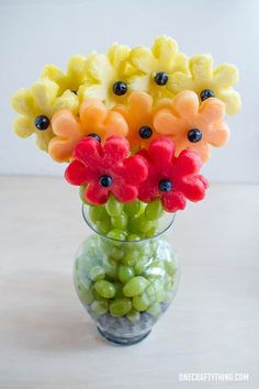 Fruit flowers are so pretty and easily achieved with a biscuit cutter.