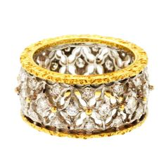 Buccellati Diamond and Gold Band Ring | From a unique collection of vintage band rings at http://www.1stdibs.com/jewelry/rings/band-rings/