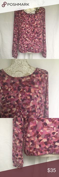 """CAbi // Kaleidoscope Abstract Print Top - purple A fun printed top in different shapes of purple from CAbi. Kaleidoscope print top. Simple box shape with a tie detail on the back of the neck. In great condition.   Measurements (approx): Bust 42"""" Waist 42"""" Hips 42"""" Length 21""""  Love item, but not the price? Make an offer through the offer button or bundle your likes for a private discount! CAbi Tops Blouses"""
