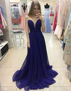 Sexy Deep V-neckline Deep Blue Prom Dress,A line Chiffon Graduation Dress,Sexy Dark Blue Evening Dress