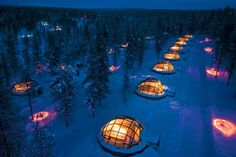 located in the arctic circle, hotel kakslauttanen is amidst tranquil lapland scenery and only a short distance from the unique urho kekkonen national park. this snow resort has around 20 igloos that can be booked starting winter and even when its -30c outside, the inside stays at a comfortable level without causing the glass to fog up, giving you a spectacular crystal clear view of your surroundings.