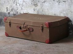 An authentic vintage canvas military suitcase with leather corners pieces. Salvaged Doors, Vintage Windows, Vintage Canvas, Architectural Salvage, Storage Solutions, Vintage Furniture, Suitcase, Restoration, Military