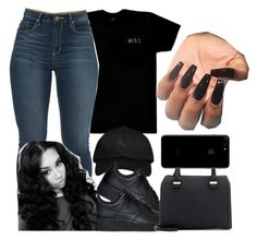 """all black"" by chicbre ❤ liked on Polyvore featuring October's Very Own, NIKE and Victoria Beckham"