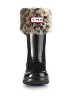 Kids Leopard Cuff Welly Socks | Hunter Boot Ltd