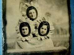 VINTAGE**RARE** STRANGE TINTYPE PHOTO 3 YOUNG GIRLS AS SUNFLOWER FACES!