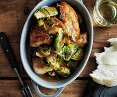 Chicken fricassée with Brussels sprouts | Gourmet Traveller Pasta Recipes, Chicken Recipes, Slow Roast Lamb, Chicken Fricassee, Fried Chicken Breast, Small Chicken, Sprouts Salad, Sprout Recipes, Recipe Collection