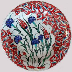 Handmade Ceramic Floor & Wall Tiles for sale Ceramic Tile Art, Ceramic Plates, Ceramic Pottery, Decorative Plates, Turkish Tiles, Turkish Art, Islamic Tiles, Islamic Art, Blue Carnations
