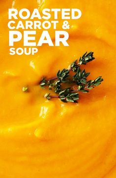 One spoonful of this Roasted Carrot and Pear Soup recipe and you'll quickly discover the oven-roasted sweetness of the carrots blends beautifully with the pears, along with fresh thyme and ginger. #BiteMeMore #soup #recipes