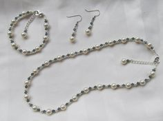 Wedding Jewelry Ivory & Dark Blue Swarovski Pearls by AWRdesigns, $40.00
