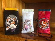 Trio d'étuis à lunettes Mirettes illustrées cousus par Laura - Patron Sacôtin