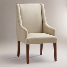 Linen Hayden Dining Chair, I might use it as a living room chair. Wayfair Living Room Chairs, Dining Room Table Chairs, Dining Chair Slipcovers, Chair Cushions, Dining Set, Dining Rooms, Yellow Master Bedroom, Most Comfortable Office Chair, Wrought Iron Patio Chairs