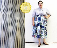 CLEARANCE  Plus Size  Vintage White & Blue Stripe by TheCurvyElle, $8.00