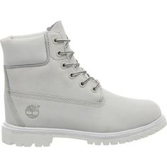 TIMBERLAND Premium 6 boot ($205) ❤ liked on Polyvore featuring shoes, boots, timberlands, botas, white mono nubuck, round toe boots, laced boots, white boots, cuffed boots and front lace up boots